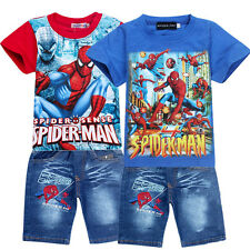 New Kids Spiderman Superhero T Shirt +Jeans Pants Sets Outfits Clothing