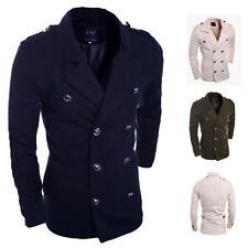2014 New Men Double-breasted Jacket Trench Coat Warm Wool Peacoat Outerwear