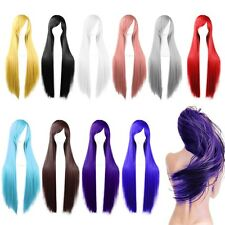 Long Straight Hair Cosplay Costume Wigs Heat Resistant Full Wigs With Bangs 80cm