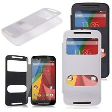 Smart Window View Flip Folio Case Cover For Motorola Moto G 2nd Gen 2014 + Film
