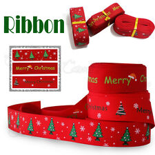 5 METRES ROLL OF RED CHRISTMAS RIBBON XMAS DECORATION ORNAMENT ASSORTED DESIGNS