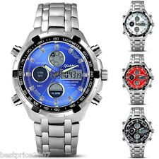 Chic LCD Multi Function Analog-Digital Quartz Analog Wrist Watch with Male Men