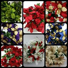 5 Bushes  Poinsettia Christmas Silk Decorating Fake Silk Flowers