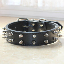 2 Rows Spiked Studded Black Leather Dog Collar Pitbull Terrier Labrador Size S M