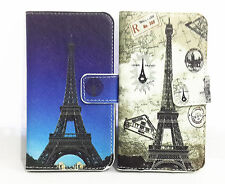 romantic Eiffel Tower PU Flip Leather Card Wallet Case For Motorola Mobile Phone