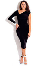 Plus Size Black asymmetrical ruched bejeweled one sleeve fitted party midi dress