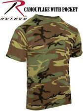 Military Style Woodland Camouflage Tactical T-Shirt With Pocket 6667