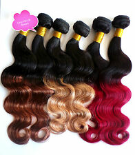 Remy Brazilian Ombre 100% Human Hair Extensions Bodywave 100g 5A QUALITY weft