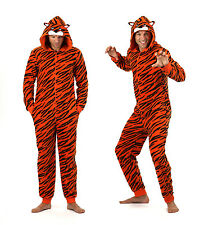 ONEZEE Mens Novelty Tiger Onesie Micro Fleece  Super Soft Face On Hood Nightwear