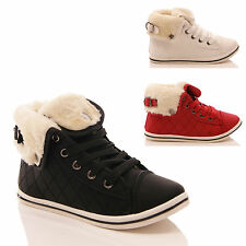 GIRLS CHILDRENS TRAINERS FUR LINED HI TOP QUILTED ANKLE BOOTS SHOES SIZE