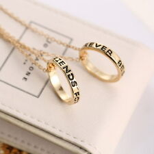 new Silver & Gold BFF Best Friends Forever 2 Part Love Rings Eternity Necklaces