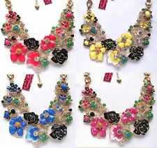 Betsey Johnson beautiful crystal rich multicolored decorations Necklace#566L