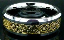 Mens Tungsten Carbide Ring Gold Celtic Dragon Wedding Engagement Band
