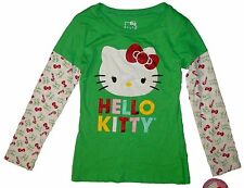 New Girl's Hello Kitty holiday Christmas long sleeve T-shirt candy canes cat