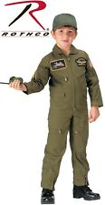 Kid's Flight Suit Coveralls With Air Force Patches Top Gun OD Green 7302
