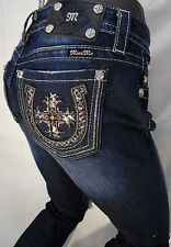 Miss Me Jean Boot Cut Sequin Stone Jewels Red Cross Horseshoe Silver Stitch Blue