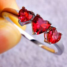 Red Heart Ruby Spinel Gemstone Silver Jewelry Women's Girls Ring Sizes 8 9 11