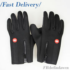 One Pair of  Wind Stop Warmer Fleece Black Winter Gloves for Cycling / Hiking