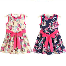Baby Girls Clothes Tutu Skirt Kids Infant Outfit Flower Printing Bow Dress 2-7Y