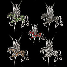 Fashion Pegasus/Horse Pendant Necklace Rhinestone Silver Chain Party Jewelry new