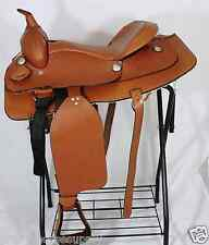 LIGHTLY TANNED FINE TOOLING ALL LEATHER WESTERN SMOOTH SEAT TRAIL HORSE SADDLE