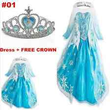 1 Mädchen Frozen Elsa Perlen Tüll Kleid Kostüm Cosplay Party Dress Eiskönigin #1