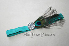 Peacock BABY Headband ,newborn proto prop,girl,kids, feather,toddler,bow,
