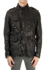NEIL BARRETT Man Black Leather Jacket with Extractable Vest Italy Made New
