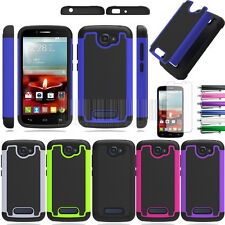 For Alcatel One Touch Fierce 2 OT-7040T Armor Hybrid Hard Impact Case Cover+Film