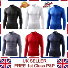 Mens Body Armour Compression Baselayers Thermal Mock Neck Long Sleeves Top/Shirt