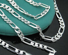 Wholesale Lot 5pcs Men's S925 Sterling Silver Figaro Chain Necklace 16-30 inch