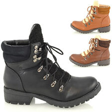 WOMENS MILITARY COMBAT SYNTHETIC LEATHER LACE UP FUR BIKER LADIES ANKLE BOOTS