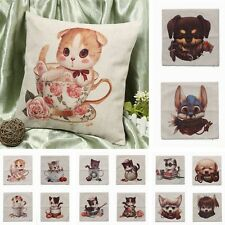 Cotton Linen Cats Dogs Cushion Cover Throw Pillow Case Sofa Home Room Car Decor
