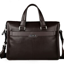 "Men's Genuine Leather Messenger Shoulder Bag Handbag Briefcase 14"" 15 Laptop Bag"