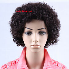 Black Brown COLOR CHOICE 100% human hair Afro curly short man woman full wigs
