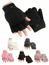 Men Women Comfort Coral fleece Fingerless Half Finger Flip Knitted Glove Mittens
