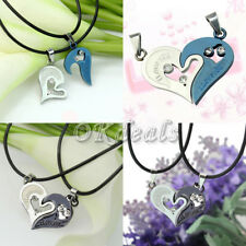 Love Unisex Couple Lover Necklace I Love You Heart Shape Pendant Stainless Steel