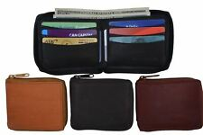 Genuine Leather Men's Zipper Zip-Around Organizer Bifold Wallet Black Brown Tan