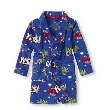 Boys The Childrens Place Blue COMICS Plush BATHROBE Robe Size 7/8 10/12 NWT