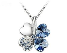8colors petal necklace Four Leaf Clover crystal rhinestone necklace 50cm