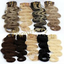 "Hot 18"" Curly/Wavy Remy clip in Real Human Hair Extension 70g 7pcs All Colors"