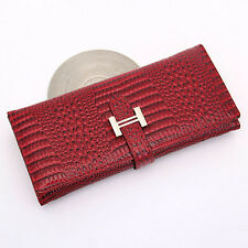 New Women Fashion Wallet Crocodile Pattern Leather Long Drawstring Purse GR
