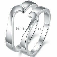 Puzzle Matching Love Heart Shape Promise Ring Lovers Engagement Wedding Band