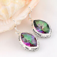 Holiday Gift Horse Eye Rainbow Fire Mystical Topaz Gems Vintage Silver Earrings
