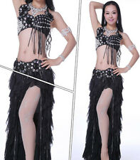 Professional Belly Dance Costume Diamond 2 Pics Bra&Skirt 34B/C 36B/C 7 Colors