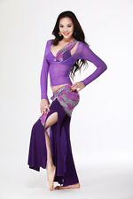 Belly Dance Costume 3 Pics Bra&Blouse Top&Scarf Pants 34B/C 36B/C 38B/C 6 Colors