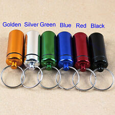 Aluminum Waterproof Pill Box Case Bottle Cache Drug Key-chain Container Holder