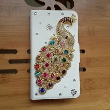 Lovely peacock glitter rhinestone leather peafowl case cover For Nokia Lumia