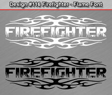 #116 FIREFIGHTER Flame Font Tribal Fire Rear Window Decal Sticker Vinyl Graphic