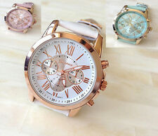 New Women's Fashion Geneva Roman Numerals Faux Leather Analog Quartz Wrist Watch